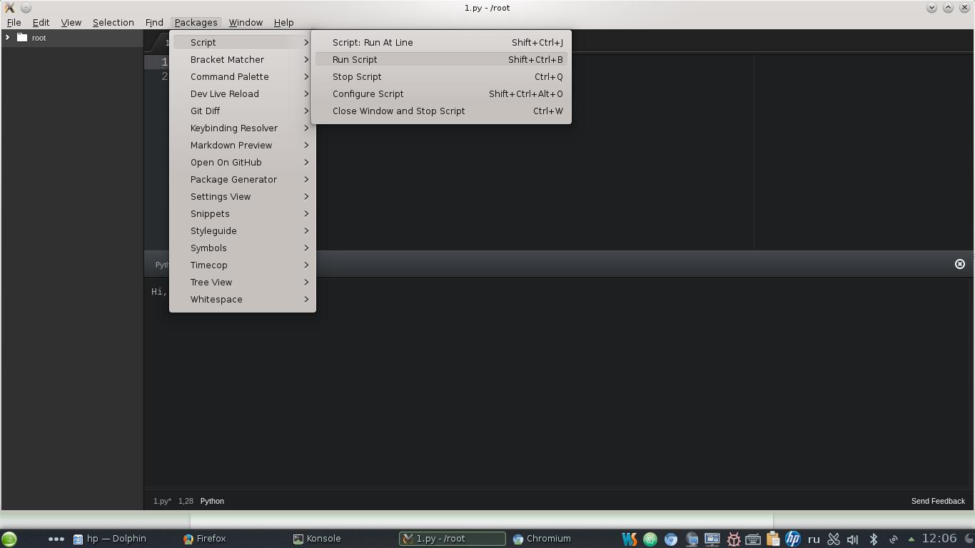 Настройка Atom от GitHub для работы с PHP, Python и некоторыми