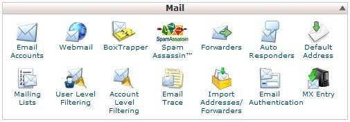 Группа ярлыков работы с почтой в cPanel