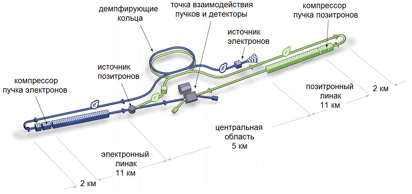 Схема расположения основных элементов Международного Линейного Коллайдера