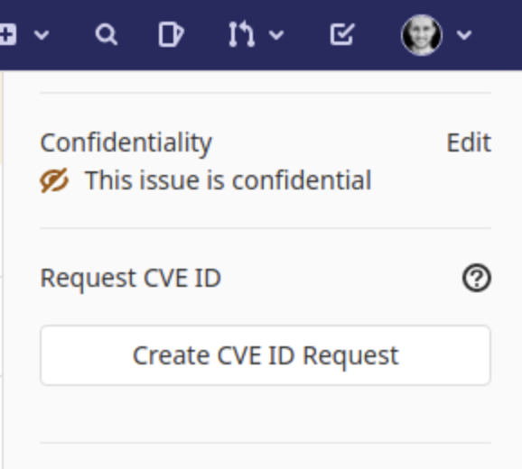 Request a CVE ID from the GitLab UI