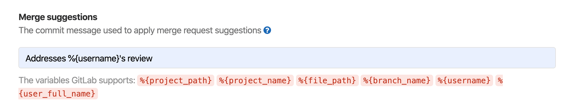 Configure default commit message for applied Suggestions