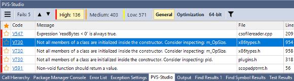 Рисунок 3 - PVS-Studio Output Window