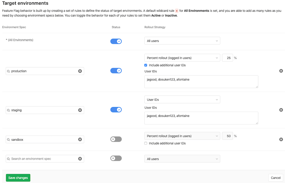 Control rollout of Feature Flags based on UserID