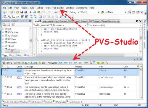 Figure 2. The main elements added by the PVS-Studio analyzer during integration into Visual Studio.  Click on the picture to enlarge it.