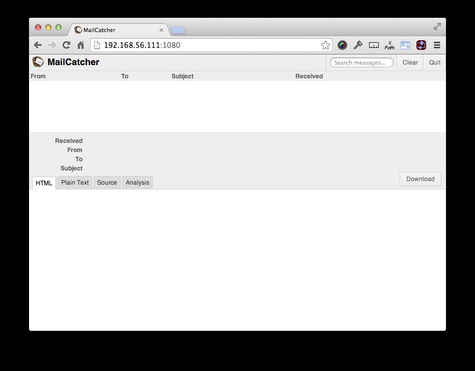 Веб-интерфейс MailCatcher