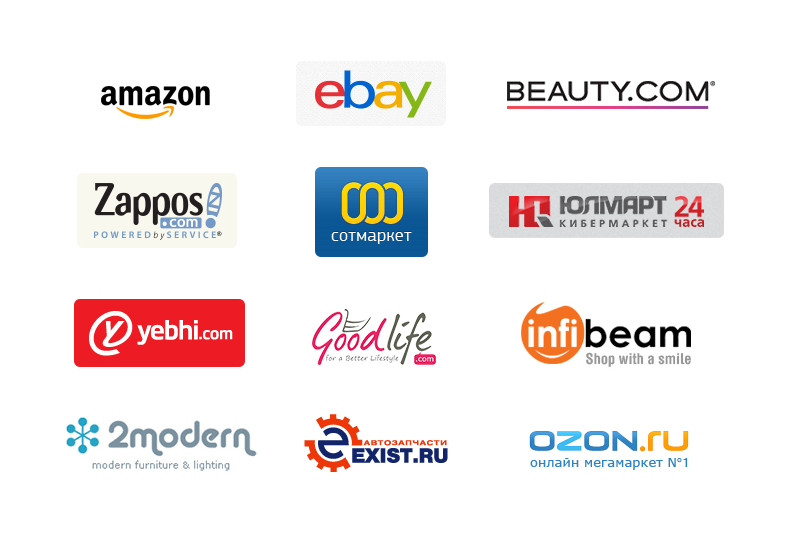 Logos of the largest e-commerce shops