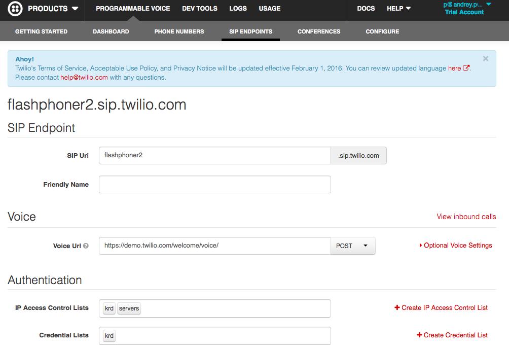 Сторінка сервісу Twilio з налаштуваннями домену