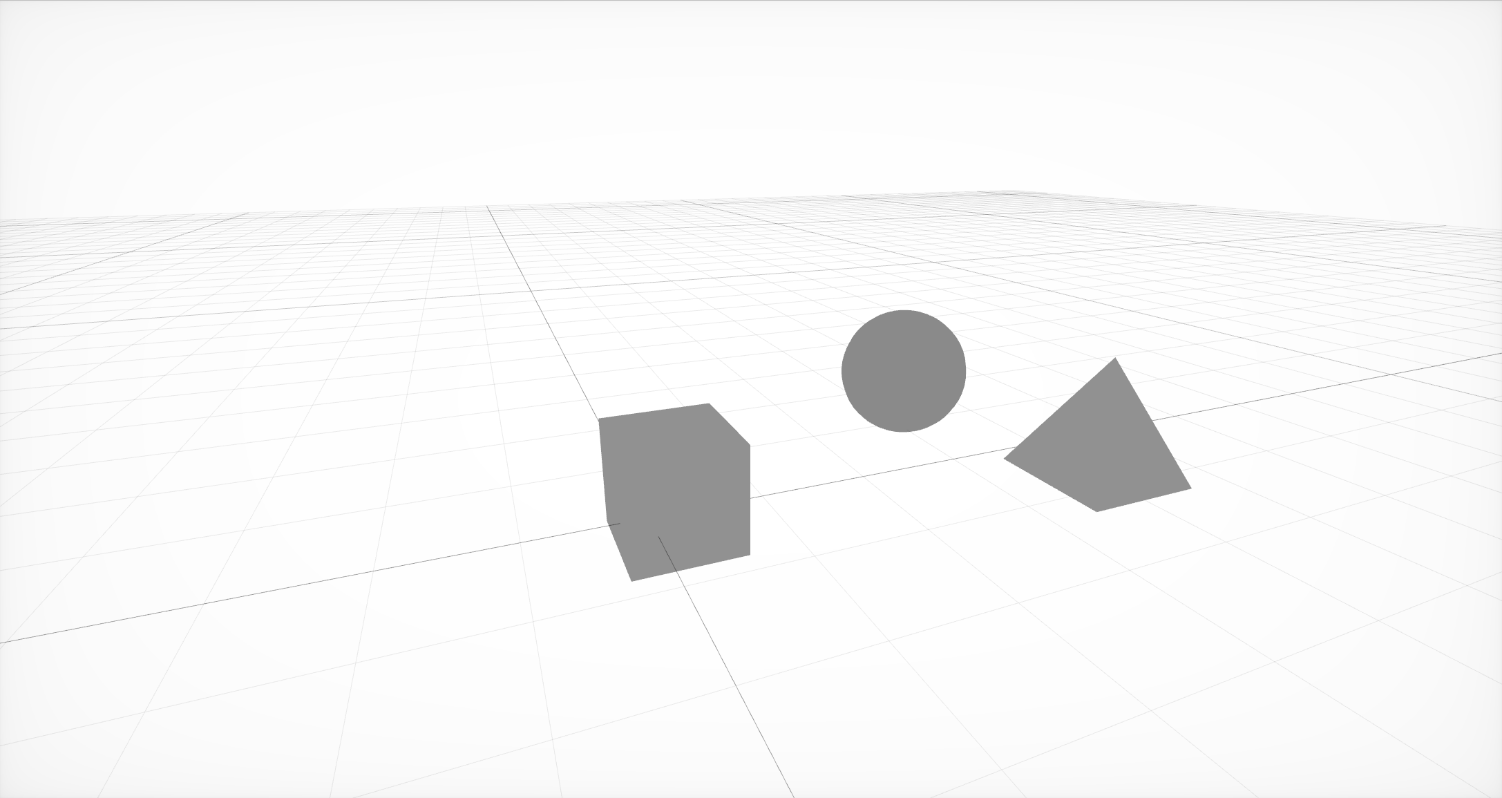 The simplest scene of three nodes with geometry in them.