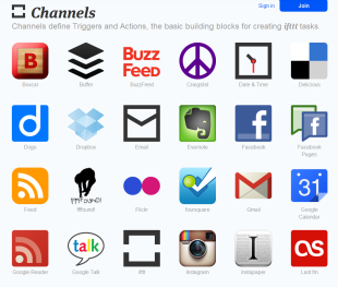 Channeles list of ifttt.com