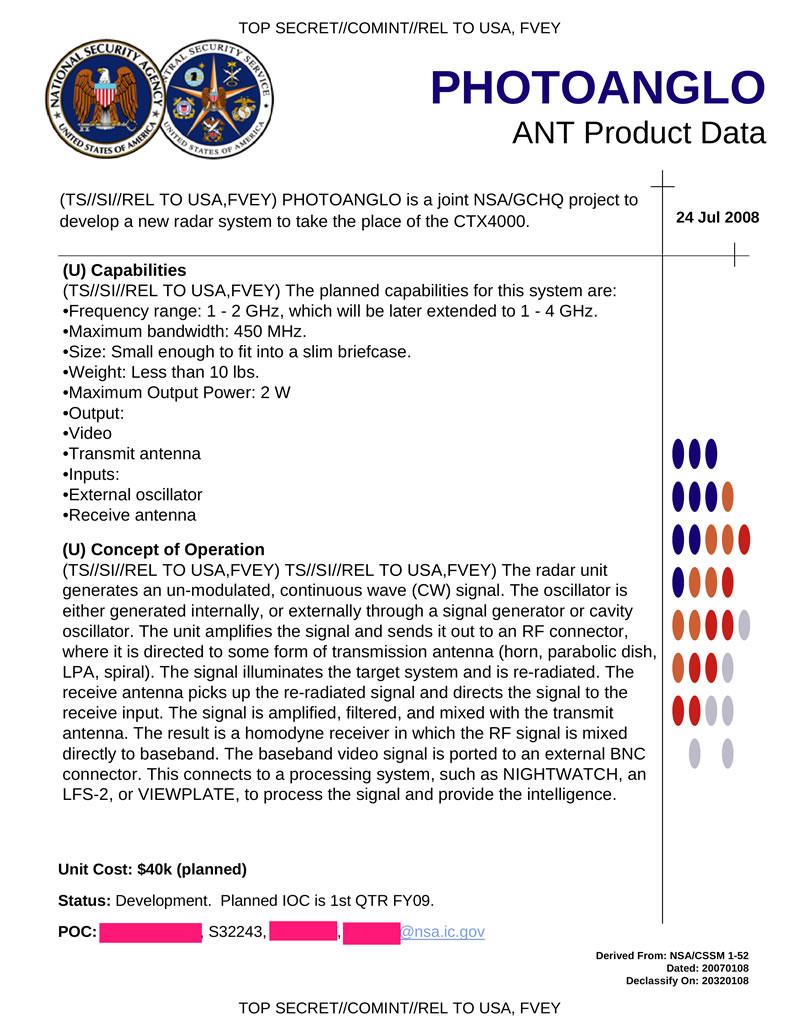 Секретные документы АНБ: Шпионские устройства