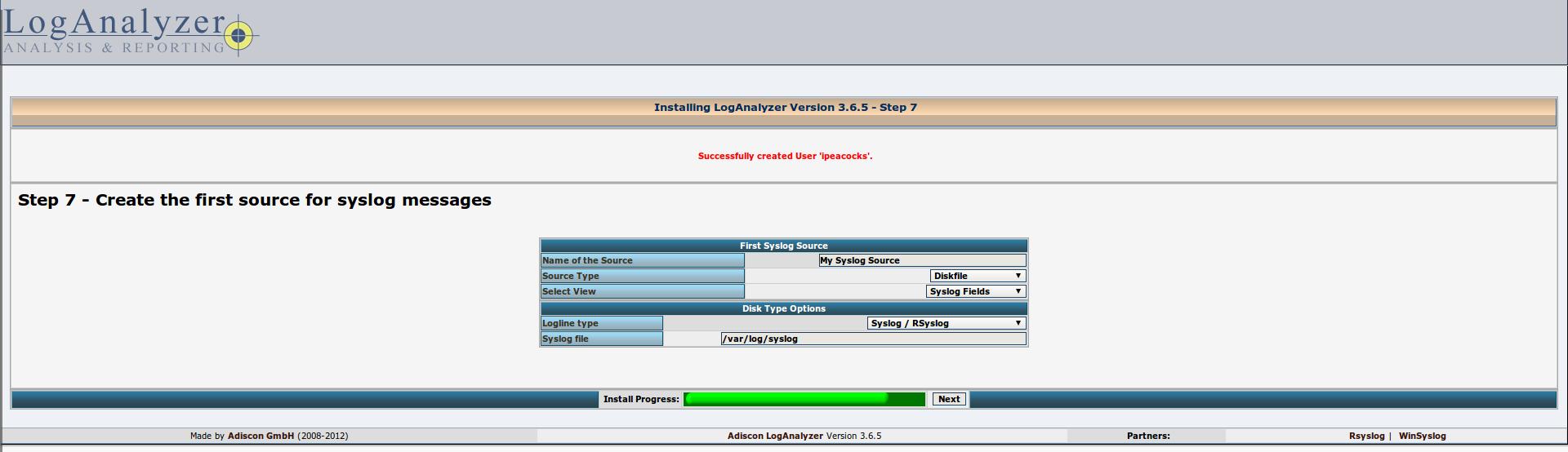 Настройка централизованного логирования с LogAnalyzer и