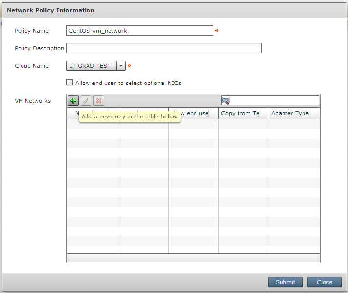 Setting options for Network policy
