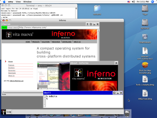 OS Inferno hosted on Mac OS X
