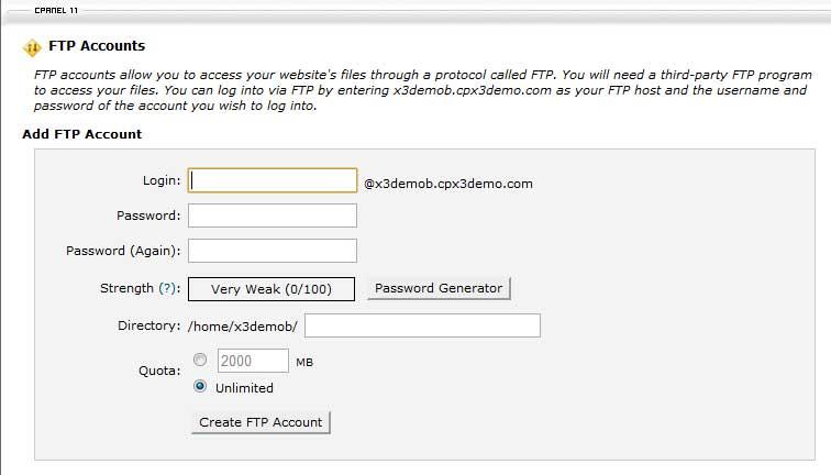 Создание пользователя FTP в CPanel