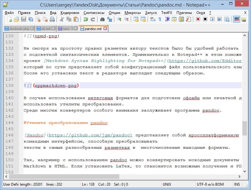 Notepad ++ editor with highlight markdown markup elements