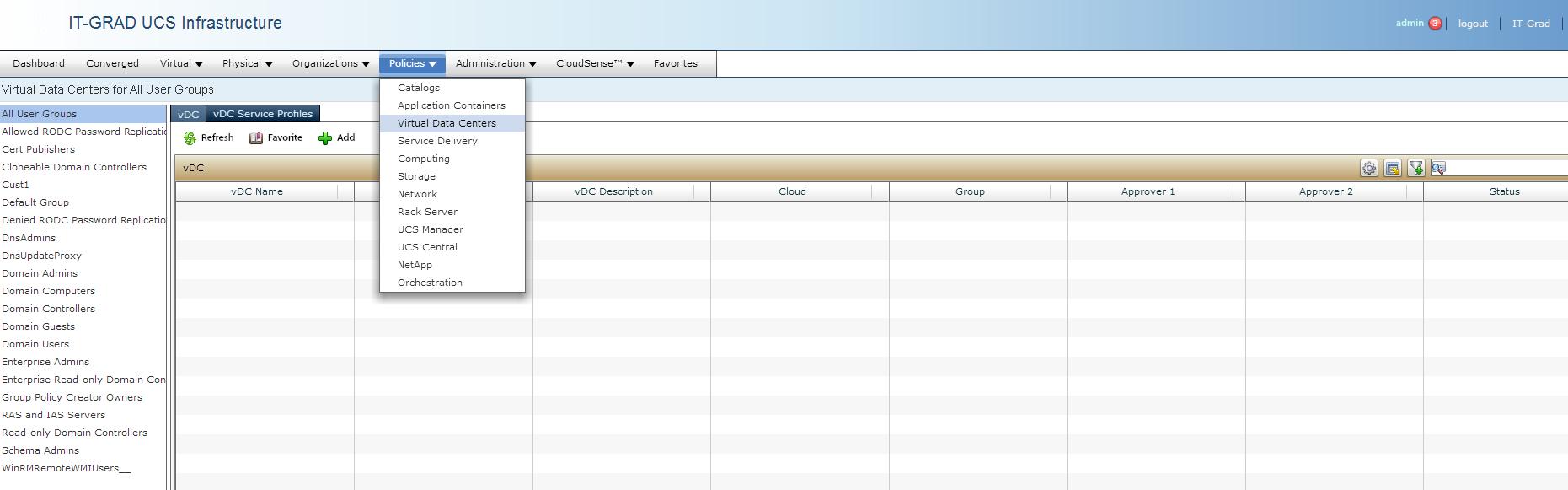 Создание Virtual DataCenters (vDC)
