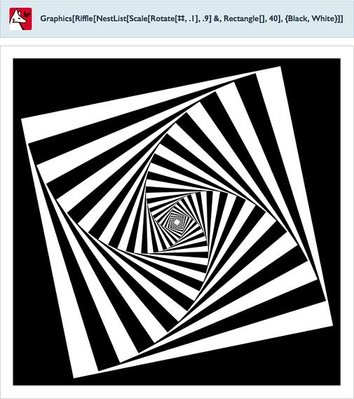 Graphics[Riffle[NestList[Scale[Rotate[#,.1],.9]&,Rectangle[],40],{Black,White}]]