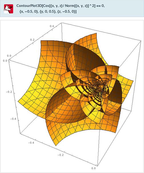 ContourPlot3D[Cos[{x,y,z}/Norm[{x,y,z}]^2]==0,{x,-0.5,0},{y,0,0 .5},{z,-0.5,0}]