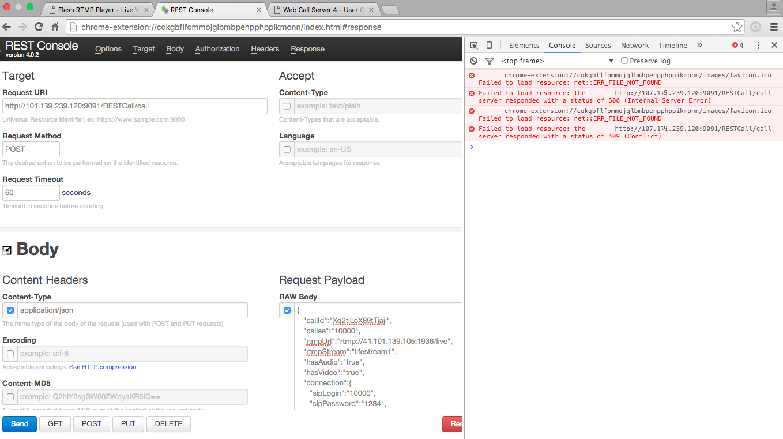 Список помилок при роботі REST консолі в Google Chrome