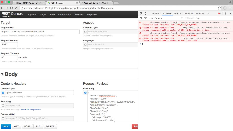 Список ошибок при работе REST консоли в Google Chrome