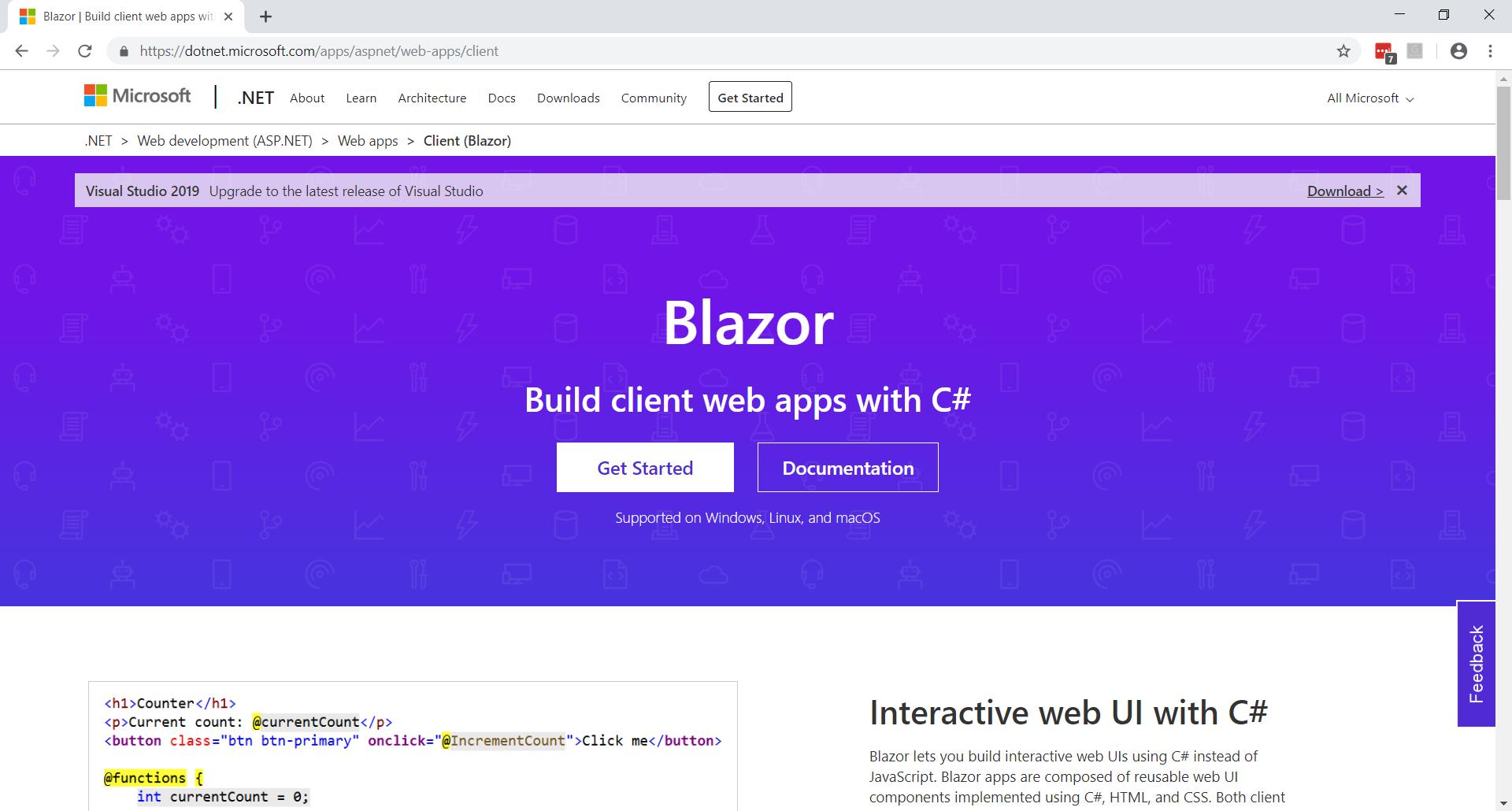 Blazor home page