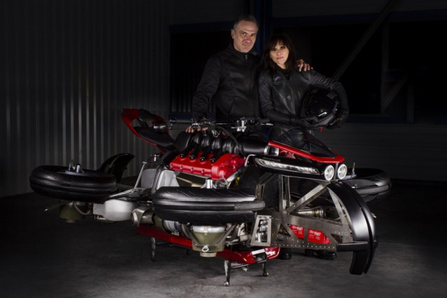 Louis Lazareth and his girlfriend Vanessa, who participated in testing a prototype of a flying motorcycle as a pilot