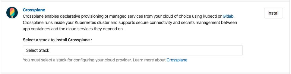 Crossplane support in GitLab Managed Apps