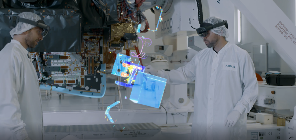 Airbus engineers use HoloLens mixed-reality headsets for training.