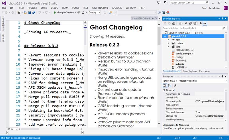 Ghost в Visual Studio с NTVS