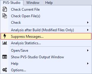 Рисунок 1 - Меню PVS-Studio в Visual Studio