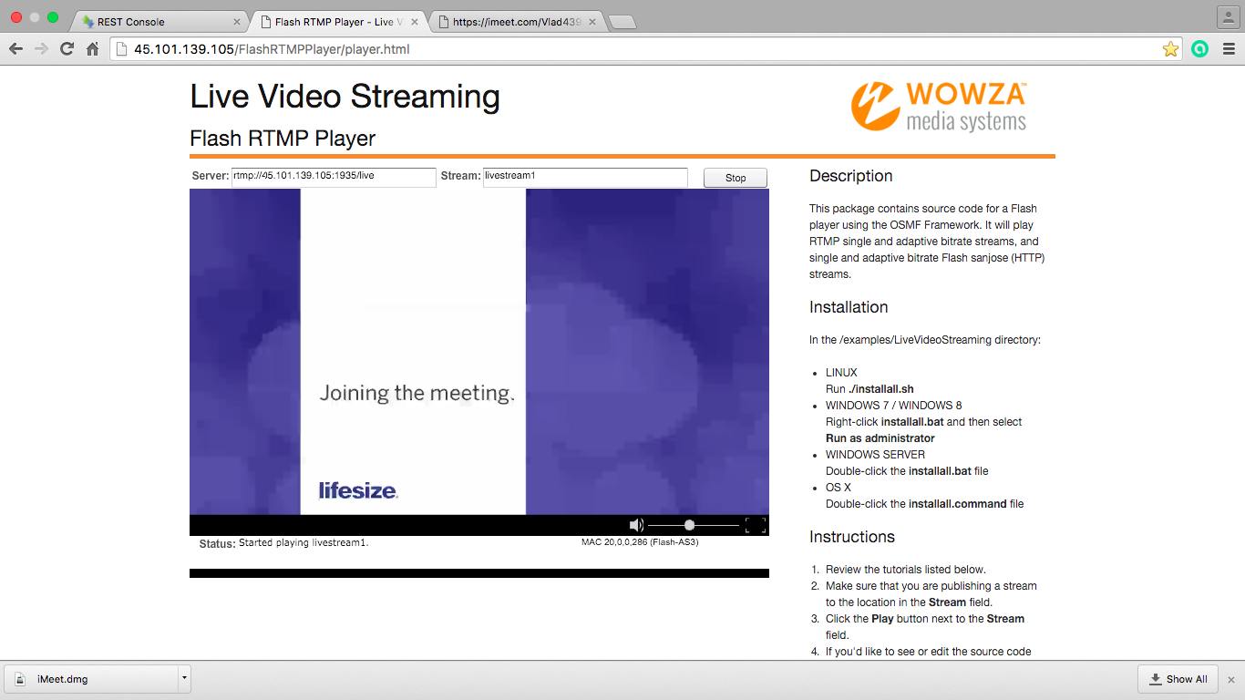 Трансляція відповіді від Lifesize отриманого через сервер потокового мовлення