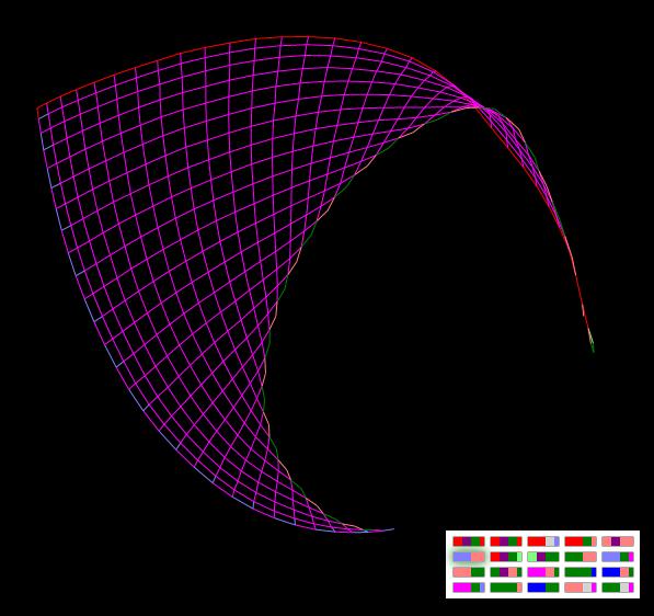 'Кокошник' - разворачивание прямоугольной сетки