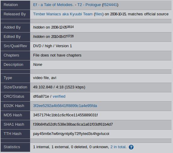 Информация о файле на anidb