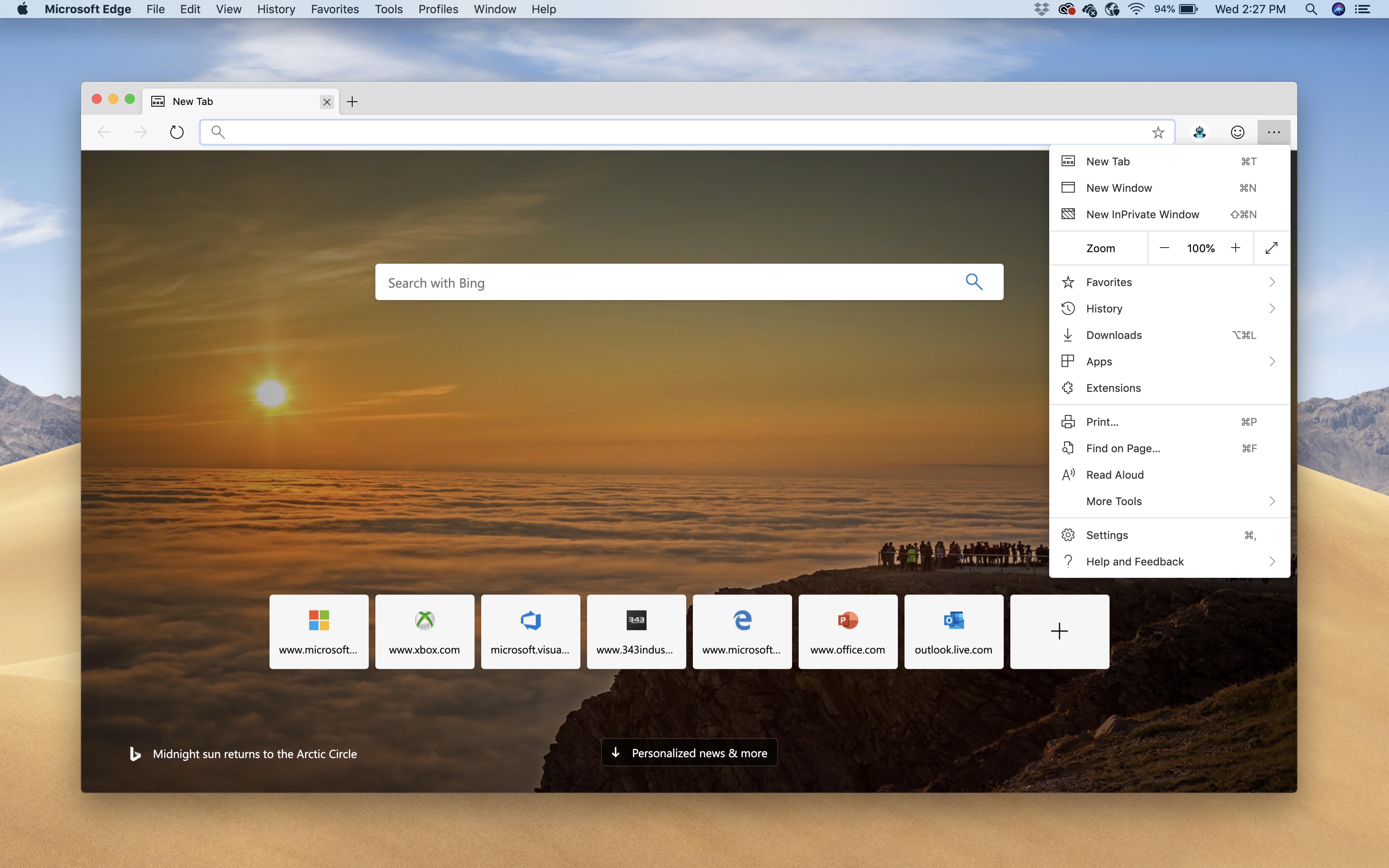 Снимок экрана Microsoft Edge для macOS