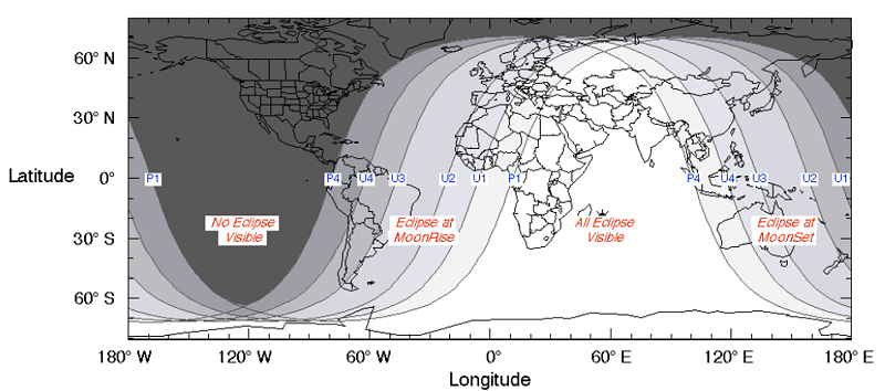 Eclipse visibility map from NASA