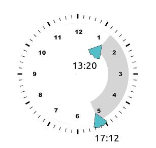 Задаем временной интервал на циферблате часов. JavaScript