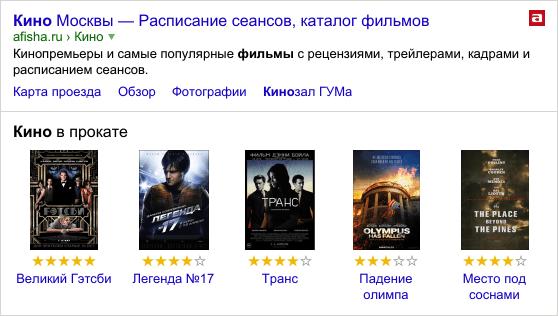 Информационный остров в результатах поиска Яндекса