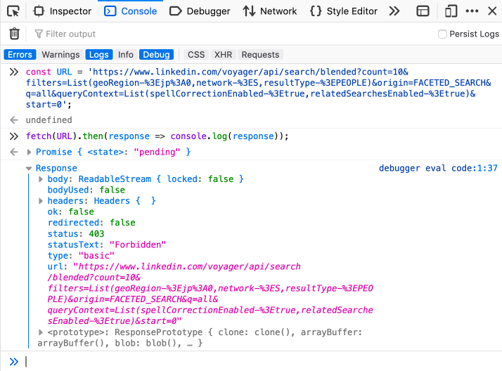 Bypassing LinkedIn Search Limit by Playing With API / Habr