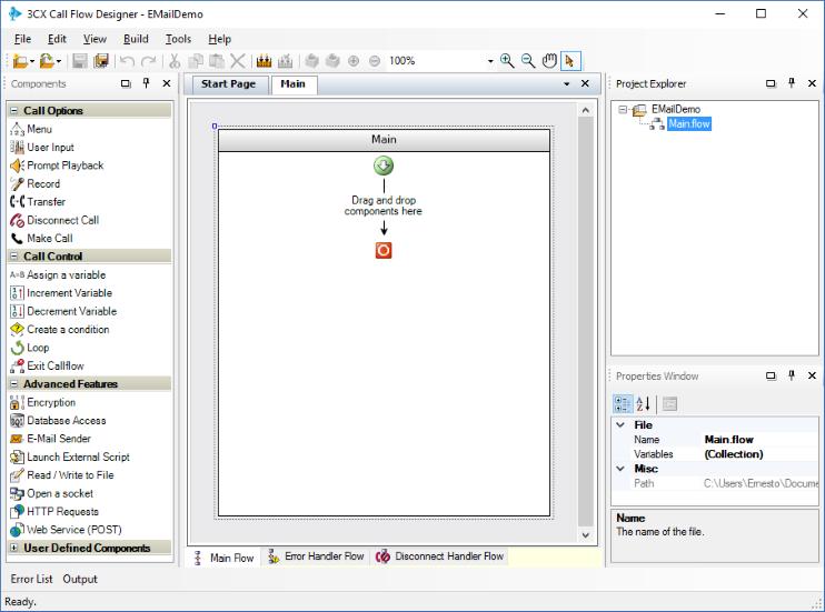 Sending an e-mail message in the 3CX Call Flow Designer development