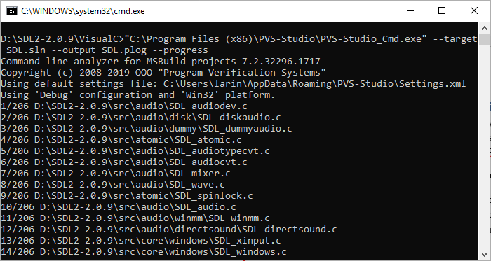 Figure 12. Output of the PVS-Studio_Cmd.exe program.