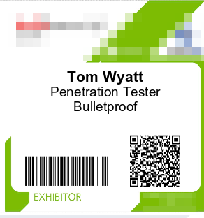 Toms exhibitor badge