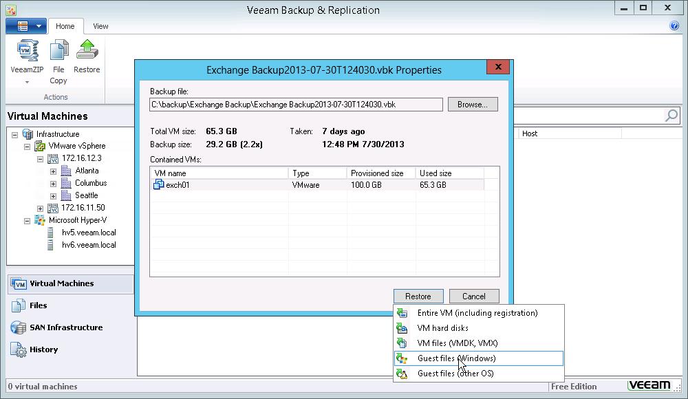 Фото 2. Восстановление файлов гостевой ОС в Veeam Backup Free Edition v7