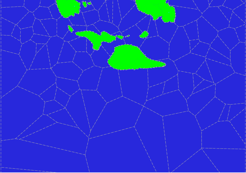 Irregular tiles on the surface of procedurally-generated planets