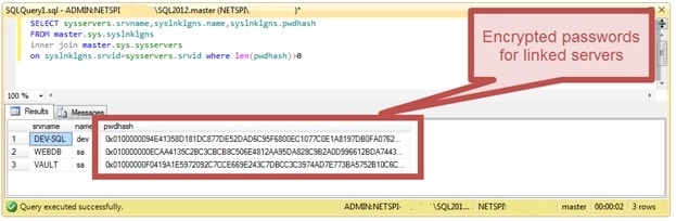 Decoding of saved passwords in MS SQL Server