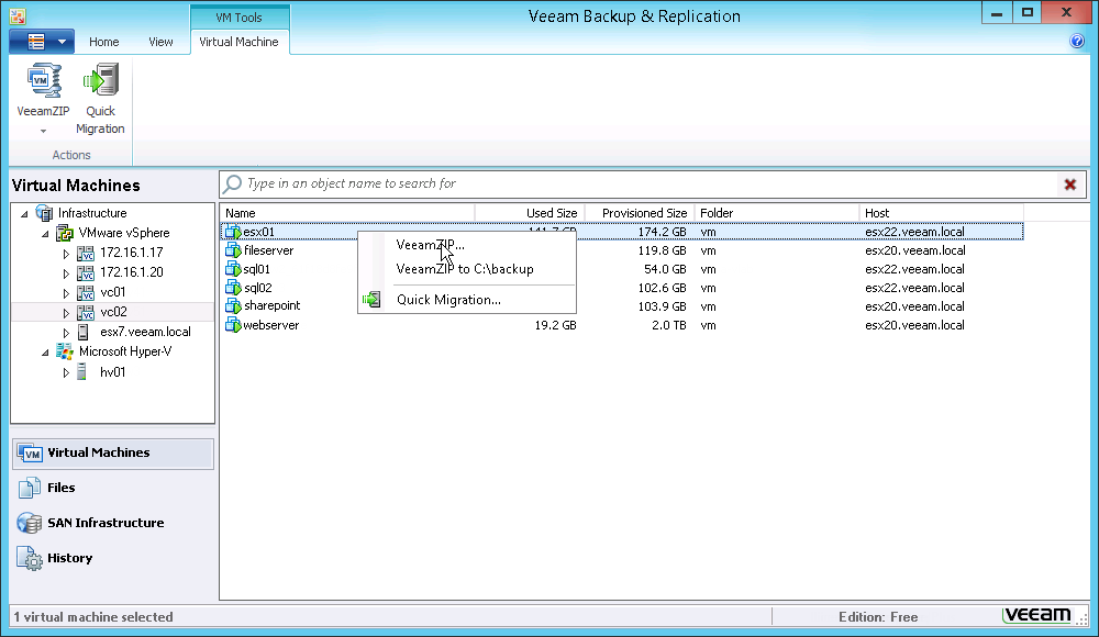 Фото 1. Простая настройка VeeamZIP в Veeam Backup Free Edition v7