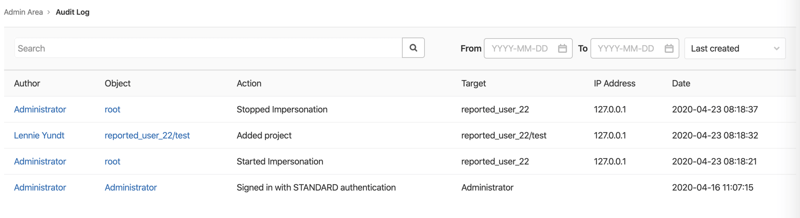 Filtered search for instance-level audit events