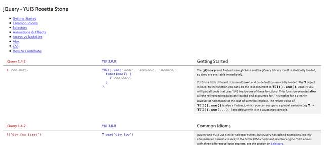 jQuery – YUI3 Rosetta Stone