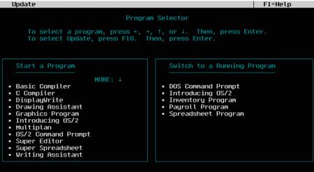 Рабочее пространство пользователя OS/2 1.0