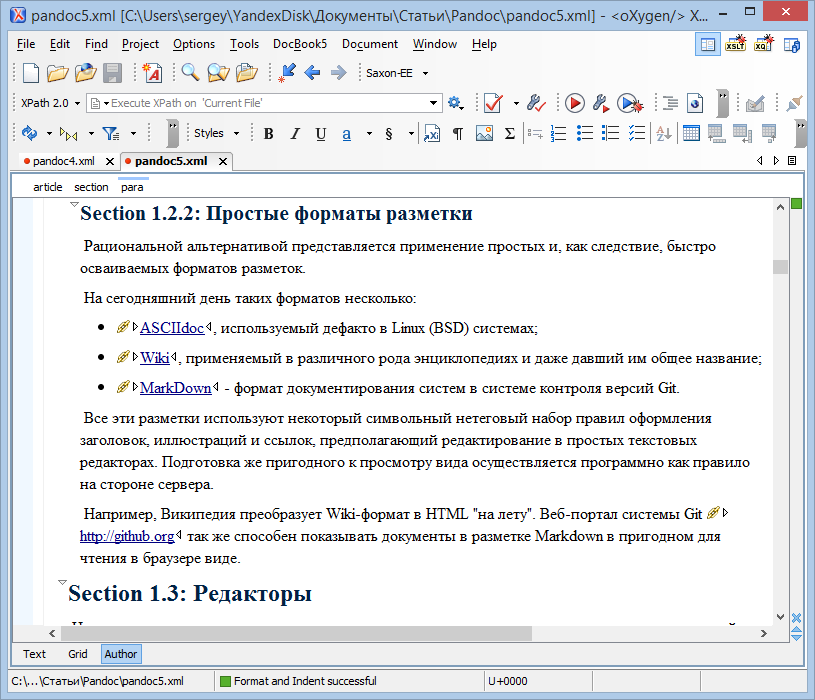 Article of a schema in an XML editor in author mode
