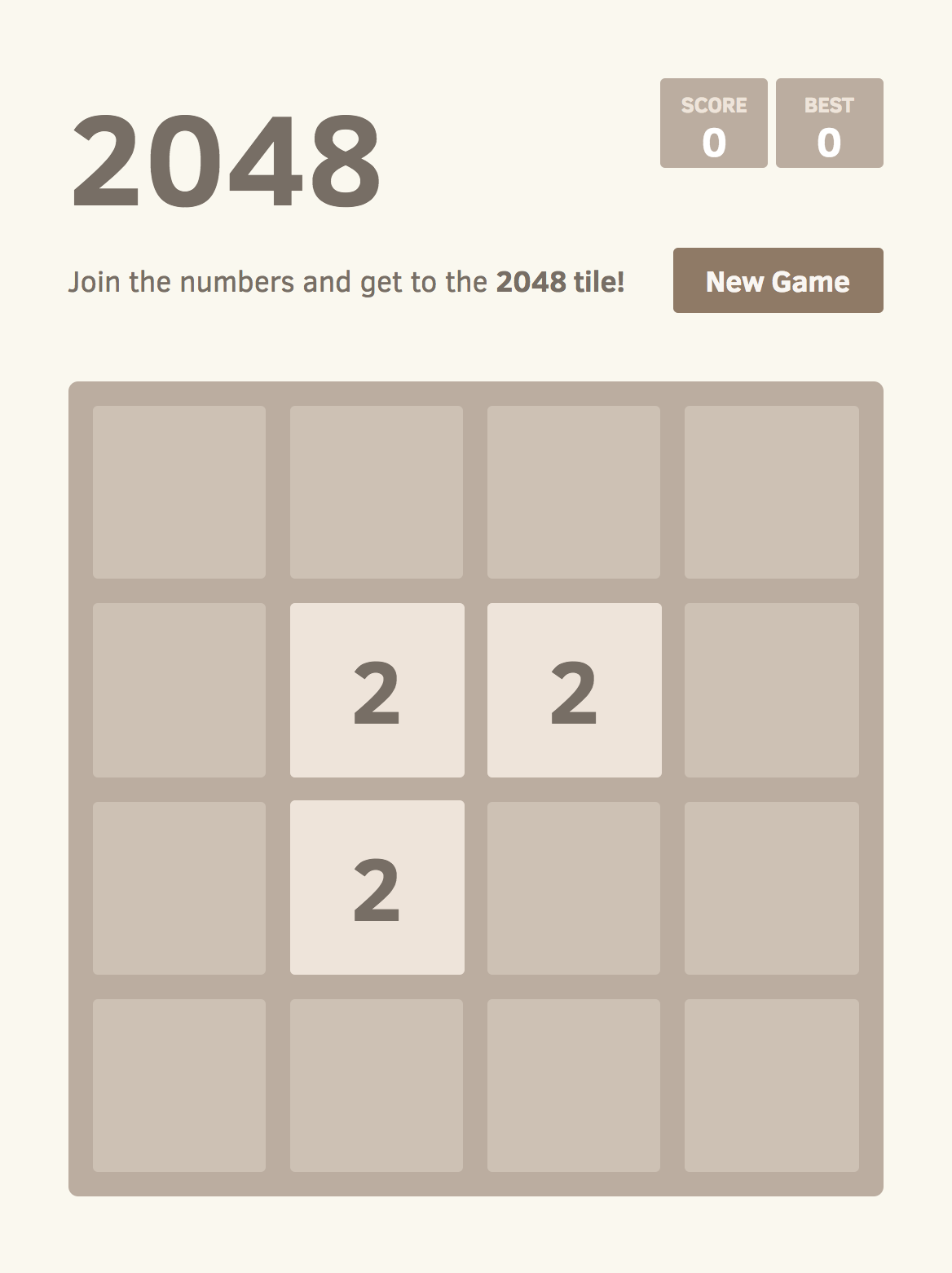 Screenshot of 2048 with an infeasible board configuration